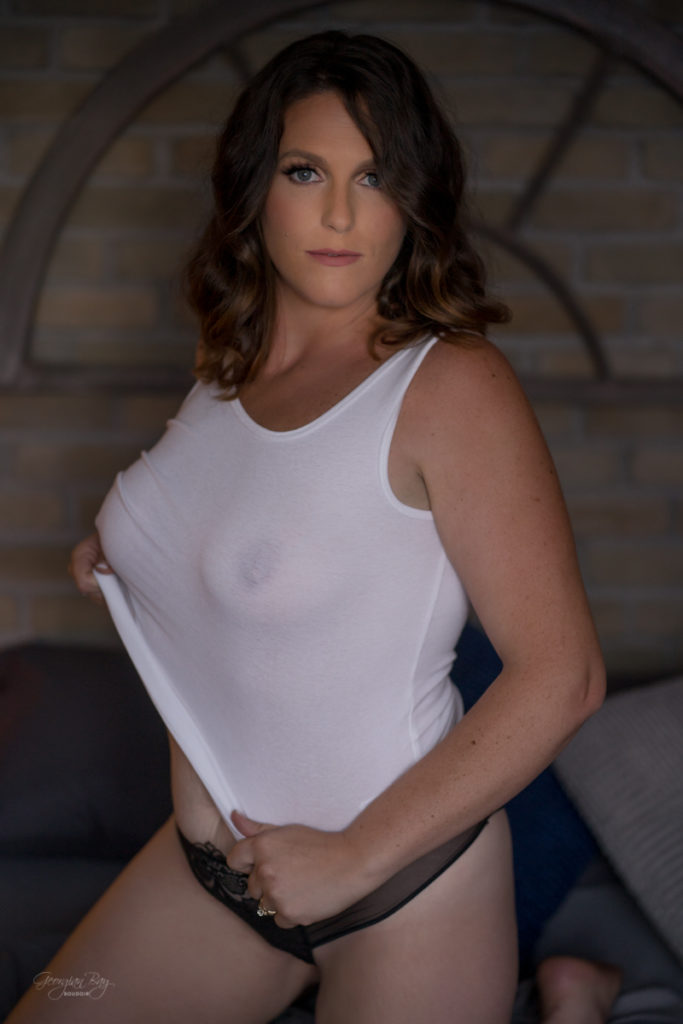 Hot woman with see through white tank top