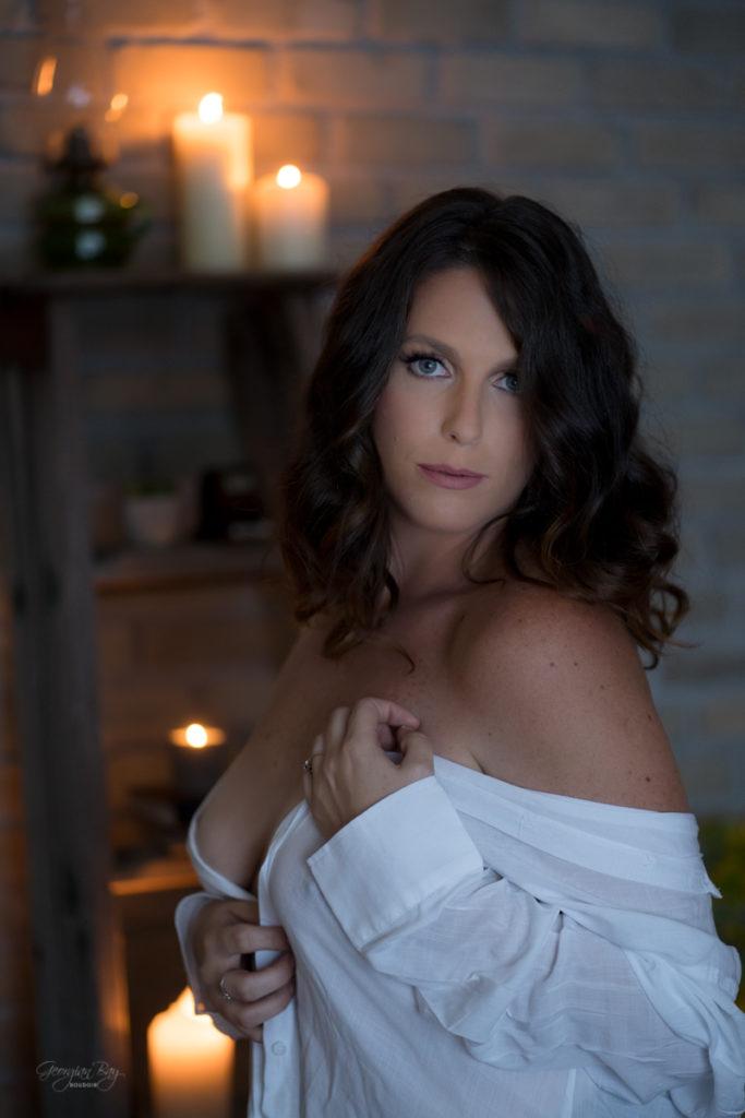 Beautiful woman in boyfriend's white dress shirt